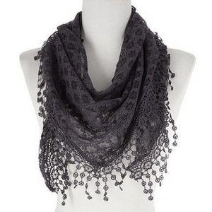 New Fashion Triangle Lace Scarf Darkgrey Color